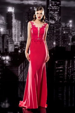 Floor Length Gown with Illusion Back & Plunging Neckline