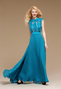 Style #0804, floor-length A-line chiffon gown with a button up collar top with lace ruffles, available in turquoise, orange and black