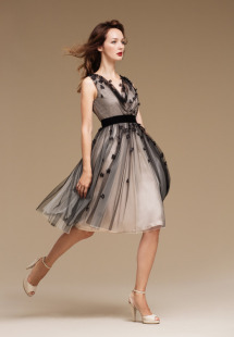 Style #0808, pleated tulle with handmade flower scattered around, silk underline, available in cream-black, white and cream