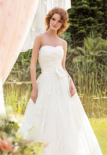 Style #1416, strapless lace ball gown with bow detail, available in white and ivory