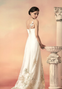Style #1553, embroidered tulle wedding dress, available in ivory