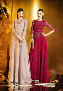 Style #0908, floor length gown with a lace blouse with 3/4 length sleeves and a satin/chiffon skirt, available in burgundy, cream and black