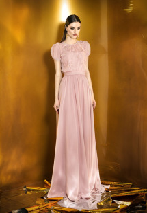 Style #0911, short sleeves floor length gown with flower embellishment scattered on the top and a sash belt on the waist, available in powder, berry, bright blue, mint, red, black, turquoise, gray, purple, blue, pink, peach and orange