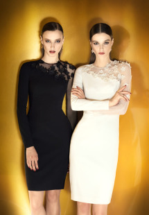 Style #0902, long sleeves fitted cocktail dress with overlay mesh on one shoulder to arm decorated with flower embroidery, available in cream, black, white, powder and blue