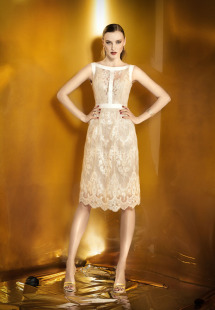 Style #0907b, straight fit lace cocktail dress with long sleeves, available cream, beige, black and white