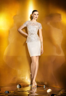 Style #0916a, long or short length straight neckline with spaghetti strap dress, available in cream
