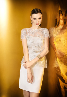 Style #916a, short sleeve lace blouse with spaghetti strap cocktail dress and embellished belt, available in ivory