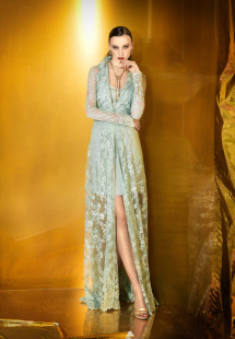 Style #0922, short spaghetti strap dress with long sleeves lace collar floor-length open cover-up, available in green, beige and cream