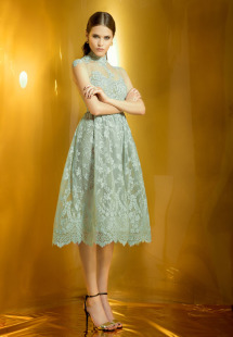 Style #0927, fit and flare midi cocktail dress with an illusion high neckline, available in green, beige and cream