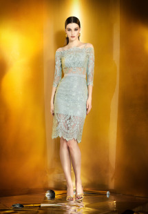 Style #0930, knee length lace cocktail dress with 3/4 off the shoulder sleeves, available in green and beige