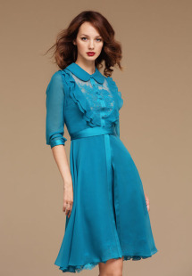 Style #0803, chiffon cocktail dress with 3/4 sleeves and lace underline on the chest and bottom of the dress, button up collar top with ruffles, available in turquoise, orange and black