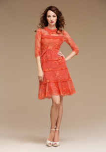 Style #0809, 3/4 sleeves lace ruffled cocktail dress with high neckline, available in turquoise, orange and black