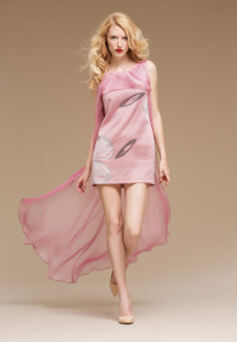 Style #0810, boat neckline straight fit pink cocktail dress with a beautiful design and chiffon cape over lay, available in pink