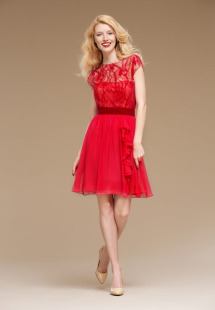 Style #0823, delicate lace sheer fabric over a chiffon dress and decorated with a velvet belt, available in red