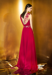 Style #905, floor length evening dress with sheer on one shoulder and illusion cut out on the waist decorated with flower embellishments, available in powder, berry, bright blue, mint, red, black, turquoise, gray, purple, blue, pink, peach and orange