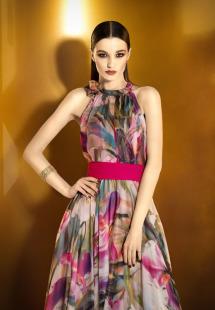 Style #0906, halter neckline a-line floor length chiffon floral-printed dress with a pink sash belt