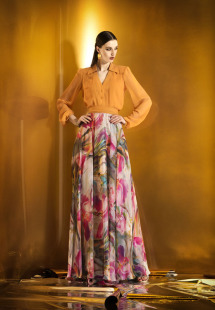 Style #0909, floor length a-line funky print chiffon flowy skirt, available in pink flower print