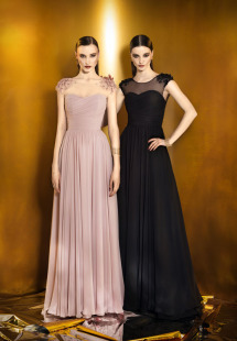 Style #910, illusion neckline pleated chiffon dress with handmade flower embellishment on the shoulders, available in powder, berry, bright blue, mint, red, black, turquoise, gray, purple, blue, pink, peach and orange