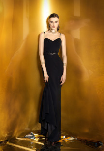 Style #915b, sheath style sweetheart neckline evening dress with spaghetti straps and embroidered belt, available in black