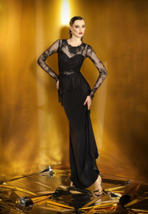 Style #915b, spaghetti strap evening gown with long sleeve lace blouse and embroidered belt, available in black