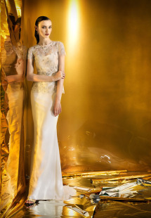 Style #0916b, long or short length straight neckline with spaghetti strap dress, available in cream