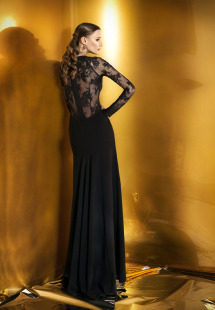 Style #918b, maxi fitted evening gown with an illusion lace low back and long sleeves, available in black and ivory