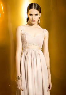 Style #0935, sheath style chiffon dress with illusion neckline, chest crop from the dress and skirt continue down, lace embroidery around the edges, available cream, black and burgundy