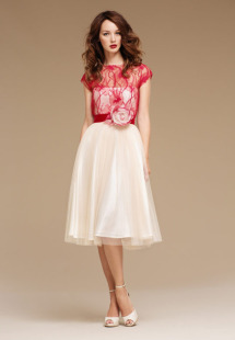 Style #0802, delicate fabric, handmade flower on velvet belt, tulle skirt, available in cream-black, cream-red and cream