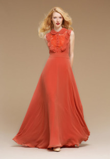 Style #0807, floor-length A-line sleeveless chiffon gown with a button up collar top with lace underlining and chiffon ruffles, available in turquoise, orange and black