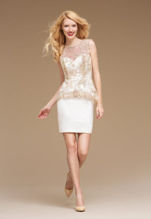 Style #0817, embroidery illusion neckline peplum fitted cocktail dress, available in white and cream