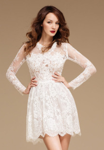 Style #0820, long sleeves high neck lace fit and flare cocktail dress, available in white, black, cream and turquoise