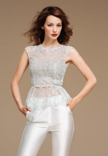 Style #0811, skinny fit trouser to match with the peplum lace embroidery blouse, available in white