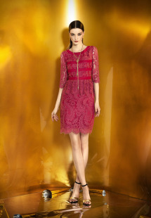 Style #0917, 3/4 sleeves plump lace fitted cocktail dress, available in cream, powder, black and burgundy