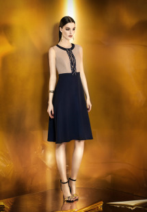 Style #0921a, short or long a-line keyhole neckline dress with embellishment decorated on the keyhole, beige on top and blue skirt