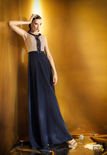 Style #921b, maxi A-line evening gown with an embroidered keyhole neckline, available in beige-blue