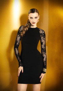 Style #0918a, long or short satin high neck dress with lace fitted long sleeves that goes around to the back, available in black and cream
