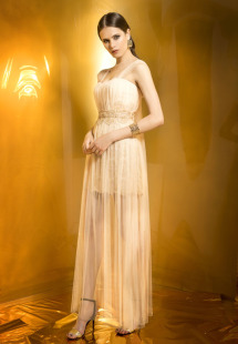 Style #0924, short cocktail dress with gold embellishment throughout, floor length pleated tulle overlay the dress, available in cream with gold