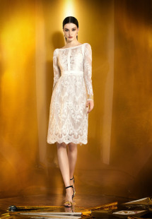 Style #907b, straight fit lace cocktail dress with long sleeves, available in ivory, beige, white