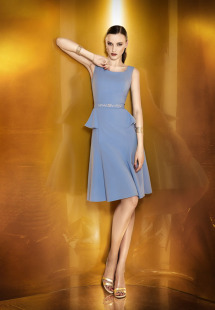 Style #0920, simple plump cocktail dress with jeweled embroidery in the middle, available in cream, black, blue and pink