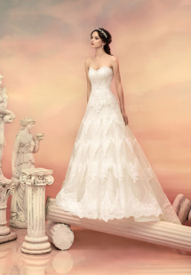 Style #1500L, strapless lace a-line wedding dress, available in white and ivory