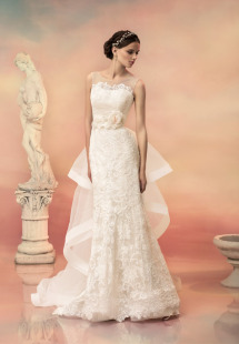 Style #1501L, fit and flare lace sequin wedding dress with removable train, available in ivory