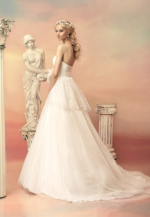 Style #1502L, strapless lace a-line wedding gown with peplum, available in white and ivory
