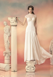 Style #1503L, sheath wedding dress with keyhole neckline and lace back, available in ivory