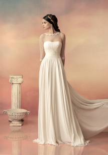 Style #1504, sheath chiffon wedding dress with pleated bodice, available in white and ivory