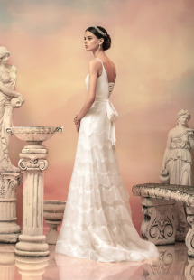 Style #1505, sequin fit and flare wedding dress with draped bodice, available in white and ivory