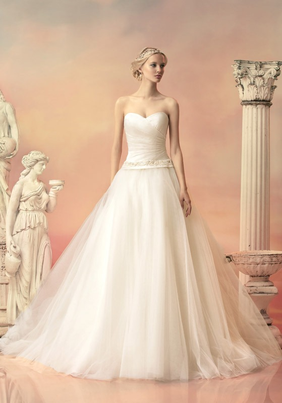 Style #1506L, satin bodice dropped waist tulle ball gown wedding dress, available in white and ivory