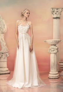 Style #1507, beaded bodice a-line wedding dress with illusion neckline, available in white and ivory