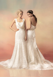 Style #1508La, strapless lace fit and flare wedding gown with sequins, available in ivory