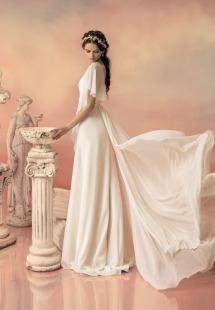 Style #1509, chiffon sheath wedding dress with draped sleeves, available in ivory