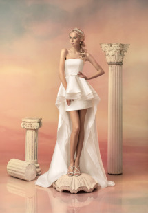 Style #1511a, short mikado skirt, available in white and ivory